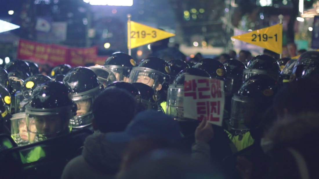 Photograph, armoured police during anti-government demonstration in Seoul, 2016