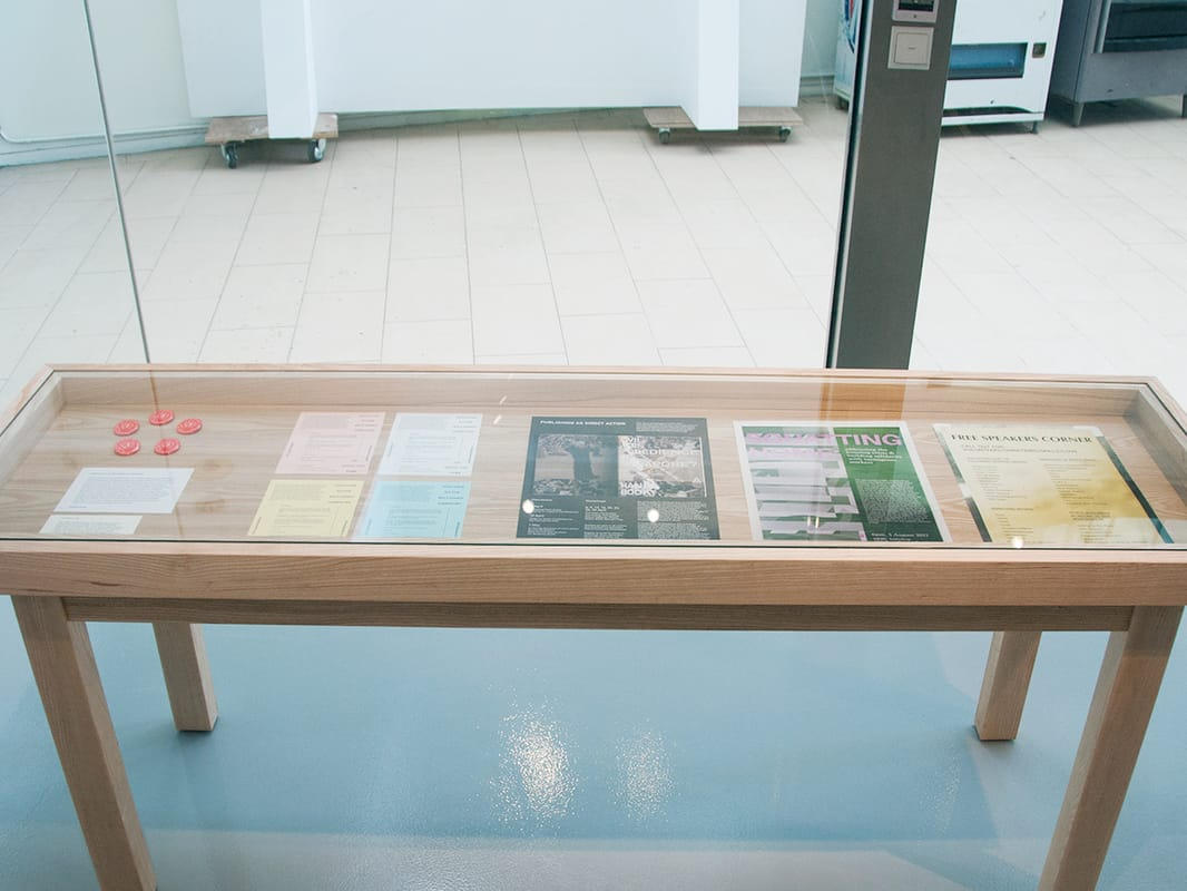 Godwin Koay – content slated for destruction; Installation view of vitrine display, 13 February 2015